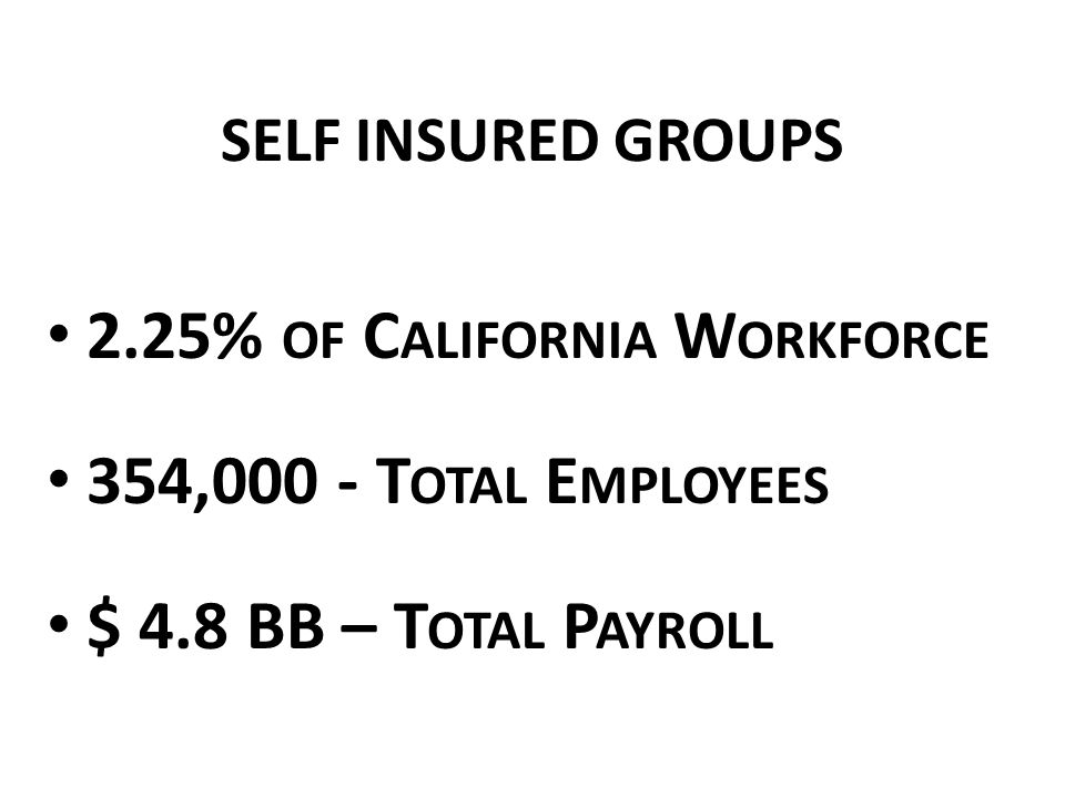 SELF INSURED GROUPS T OTAL EFL $ 150,675,479 P OSTED D EPOSIT $ 219,134,602 R EQUIRED D EPOSIT $ 217,054,946 D EPOSIT S URPLUS $ 2,079,656 SIG S MOVED FROM A DEPOSIT DEFICIT LAST YEAR TO DEPOSIT SURPLUS THIS YEAR !!