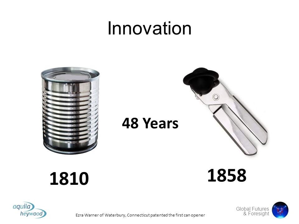 Global Futures & Foresight Innovation 48 Years 1810 1858 Ezra Warner of Waterbury, Connecticut patented the first can opener