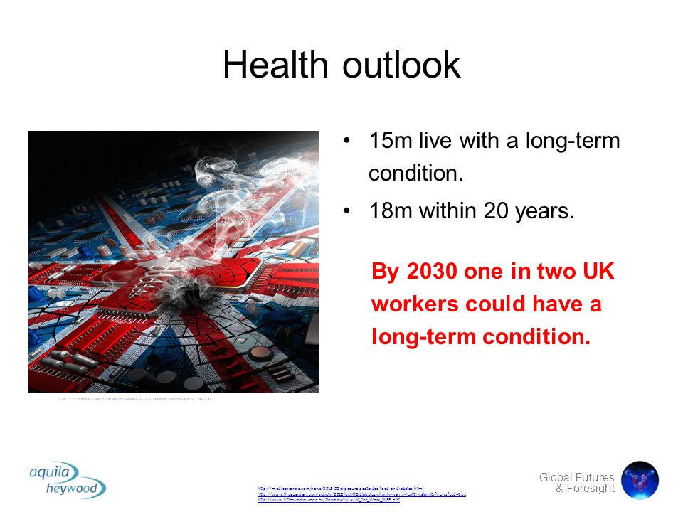 Global Futures & Foresight Health outlook 15m live with a long-term condition. 18m within 20 years. http://medicalxpress.com/news/2013-02-exposure-pes