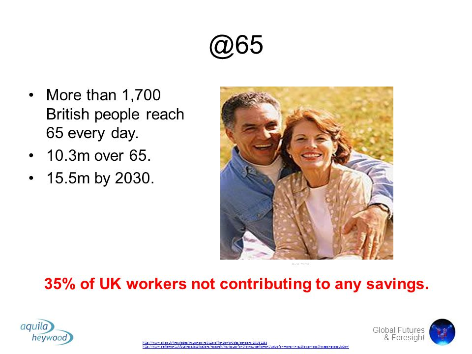 Global Futures & Foresight @65 More than 1,700 British people reach 65 every day. 10.3m over 65. 15.5m by 2030. Source: The TUC http://www.cii.co.uk/k