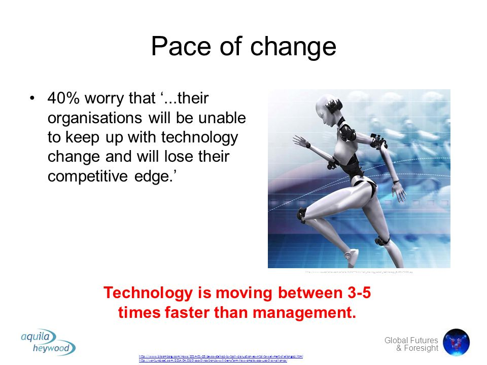 Global Futures & Foresight Pace of change 40% worry that '...their organisations will be unable to keep up with technology change and will lose their