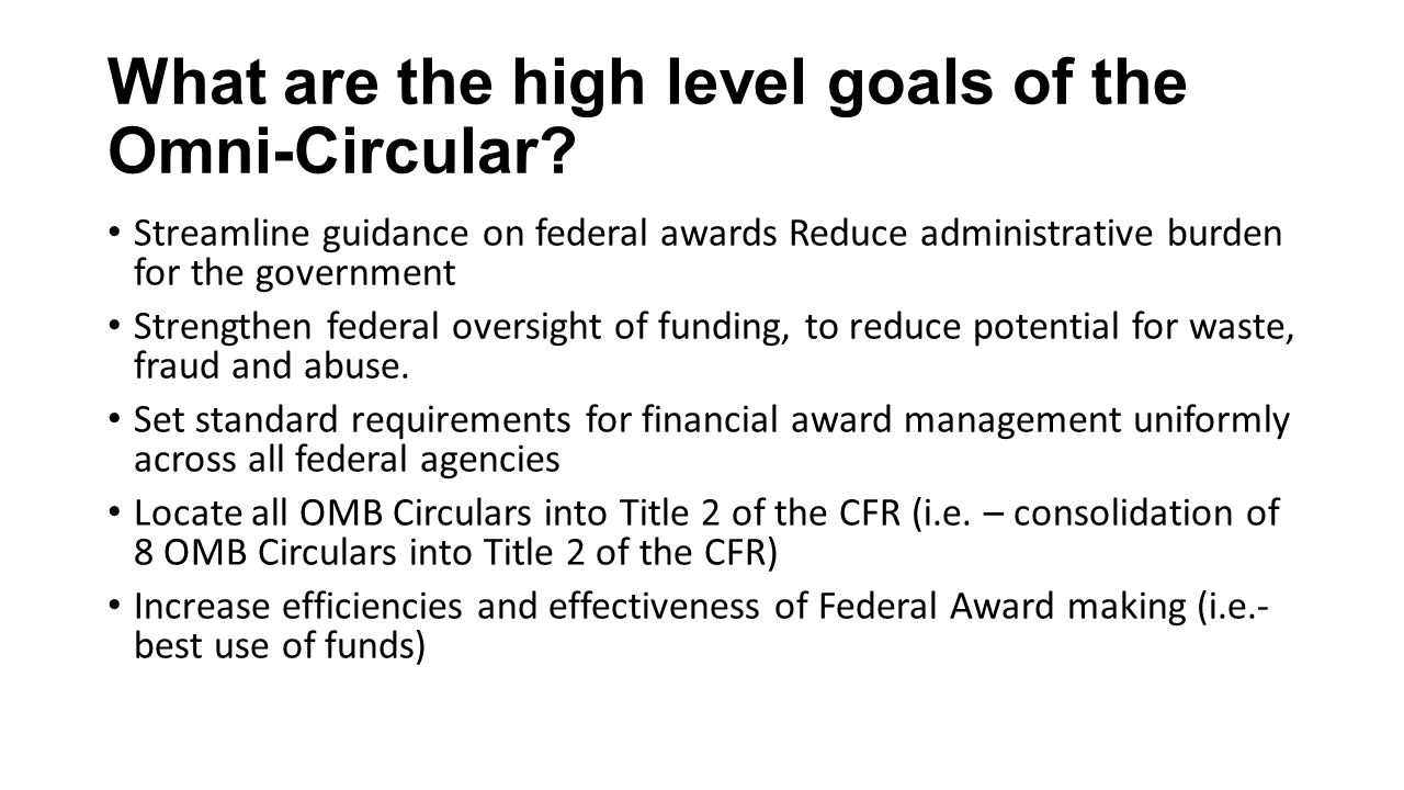 What are the high level goals of the Omni-Circular.