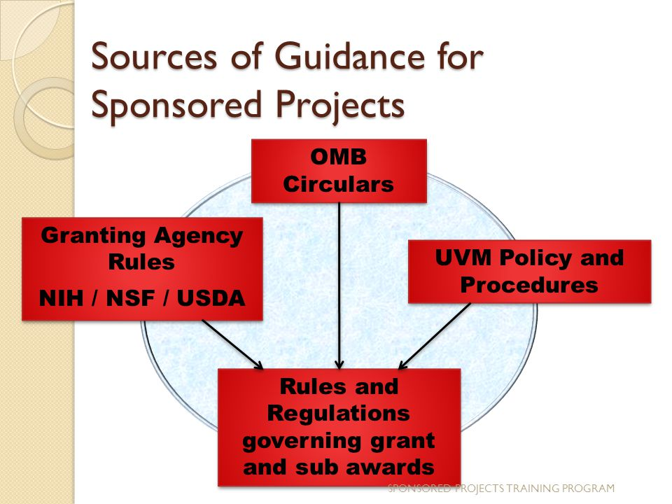 Sources of Guidance for Sponsored Projects Granting Agency Rules NIH / NSF / USDA Granting Agency Rules NIH / NSF / USDA OMB Circulars UVM Policy and Procedures Rules and Regulations governing grant and sub awards SPONSORED PROJECTS TRAINING PROGRAM