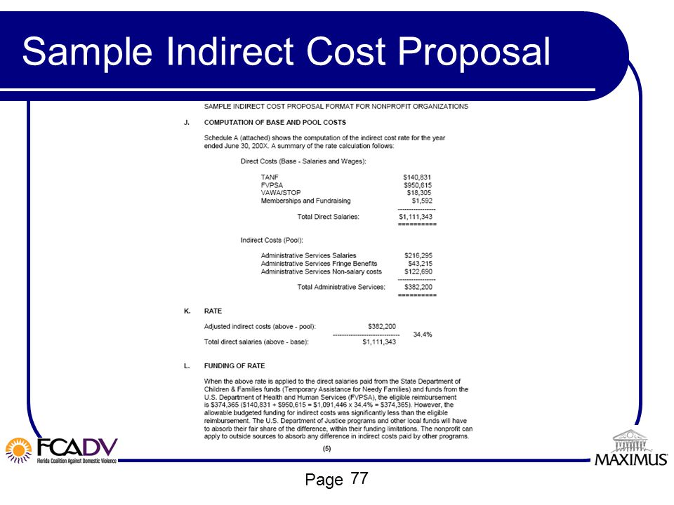 Page Sample Indirect Cost Proposal 77