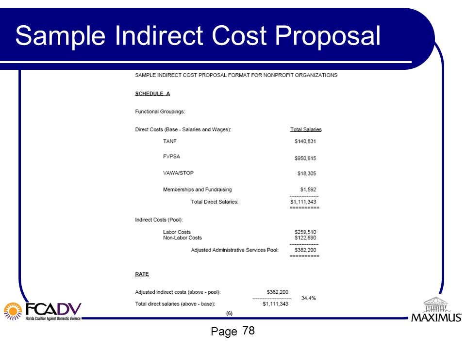 Page Sample Indirect Cost Proposal 78
