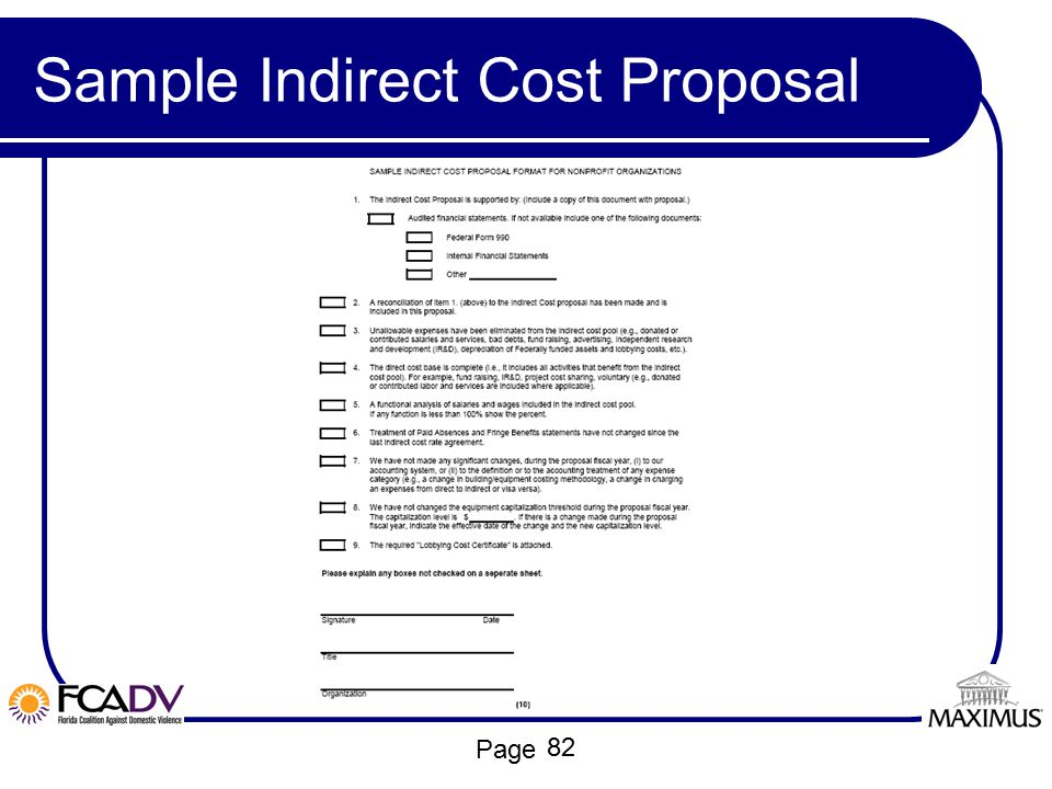 Page Sample Indirect Cost Proposal 82