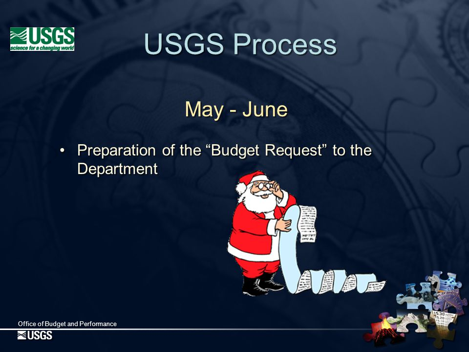 Office of Budget and Performance Department Decisions July - August USGS Director, Director of OBP, and Budget Officer present budget to Secretary Secretary's decision Preparation of OMB Budget Estimates July - August USGS Director, Director of OBP, and Budget Officer present budget to Secretary Secretary's decision Preparation of OMB Budget Estimates