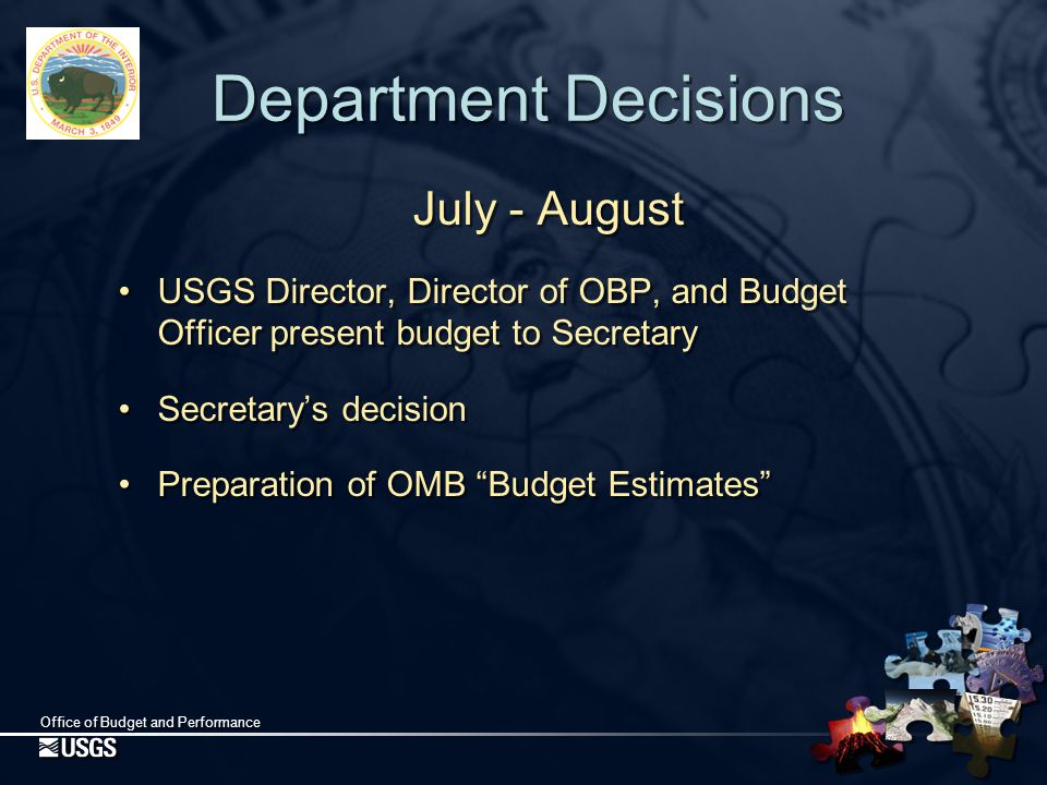 Office of Budget and Performance OMB Budget Estimates September Hearing Decisions made by  Examiner and Branch Chief  Top management, including OMB Director September Hearing Decisions made by  Examiner and Branch Chief  Top management, including OMB Director