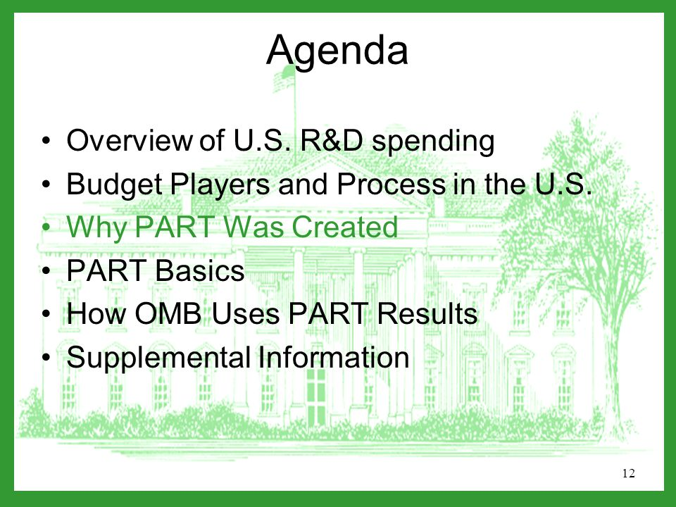 12 Agenda Overview of U.S. R&D spending Budget Players and Process in the U.S.