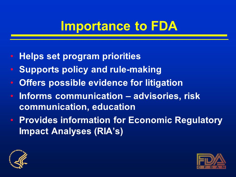 Importance to FDA Helps set program priorities Supports policy and rule-making Offers possible evidence for litigation Informs communication – advisories, risk communication, education Provides information for Economic Regulatory Impact Analyses (RIA's)