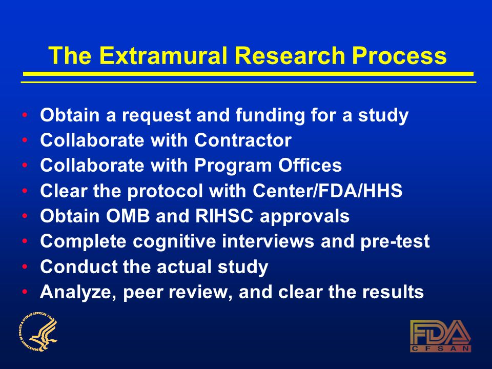 The Extramural Research Process Obtain a request and funding for a study Collaborate with Contractor Collaborate with Program Offices Clear the protocol with Center/FDA/HHS Obtain OMB and RIHSC approvals Complete cognitive interviews and pre-test Conduct the actual study Analyze, peer review, and clear the results