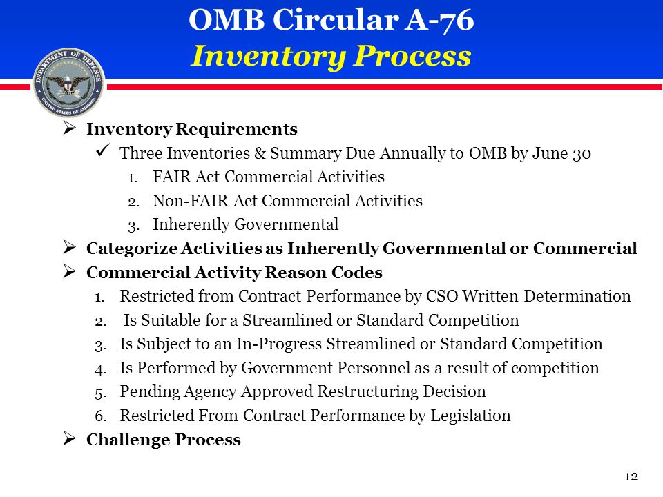 OMB Circular A-76 Inventory Process  Inventory Requirements Three Inventories & Summary Due Annually to OMB by June 30 1.
