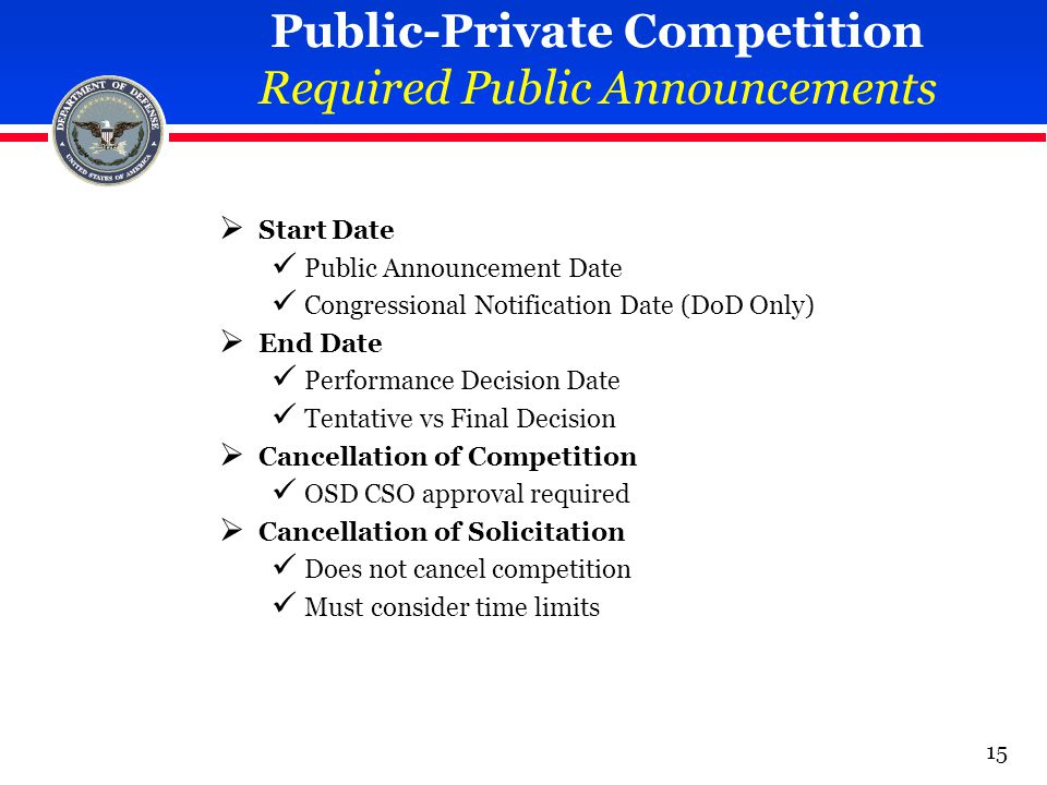 Public-Private Competition Required Public Announcements  Start Date Public Announcement Date Congressional Notification Date (DoD Only)  End Date P
