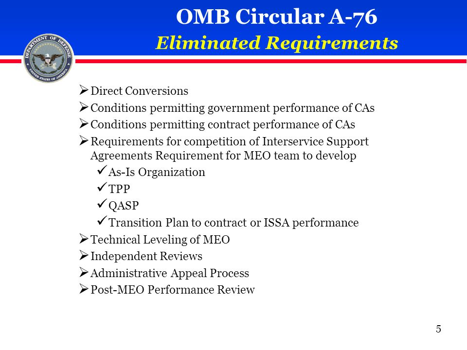  Direct Conversions  Conditions permitting government performance of CAs  Conditions permitting contract performance of CAs  Requirements for competition of Interservice Support Agreements Requirement for MEO team to develop As-Is Organization TPP QASP Transition Plan to contract or ISSA performance  Technical Leveling of MEO  Independent Reviews  Administrative Appeal Process  Post-MEO Performance Review OMB Circular A-76 Eliminated Requirements 5