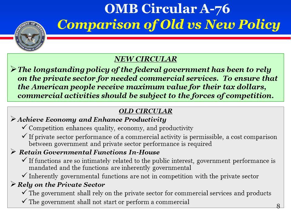 OMB Circular A-76 Policy (Summarized) 1.