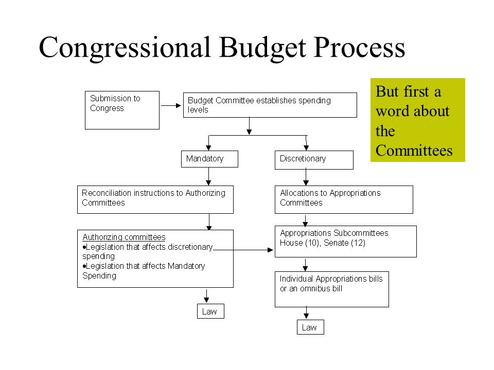 Congressional Budget Process But first a word about the Committees