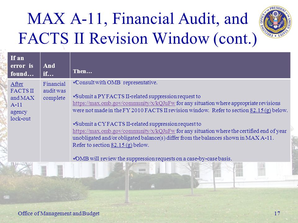 Office of Management and Budget17 MAX A-11, Financial Audit, and FACTS II Revision Window (cont.) If an error is found… And if… Then… After FACTS II and MAX A-11 agency lock-out Financial audit was complete Consult with OMB representative.
