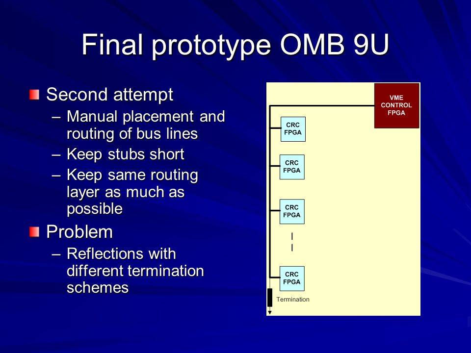 Final prototype OMB 9U Second attempt –Manual placement and routing of bus lines –Keep stubs short –Keep same routing layer as much as possible Proble