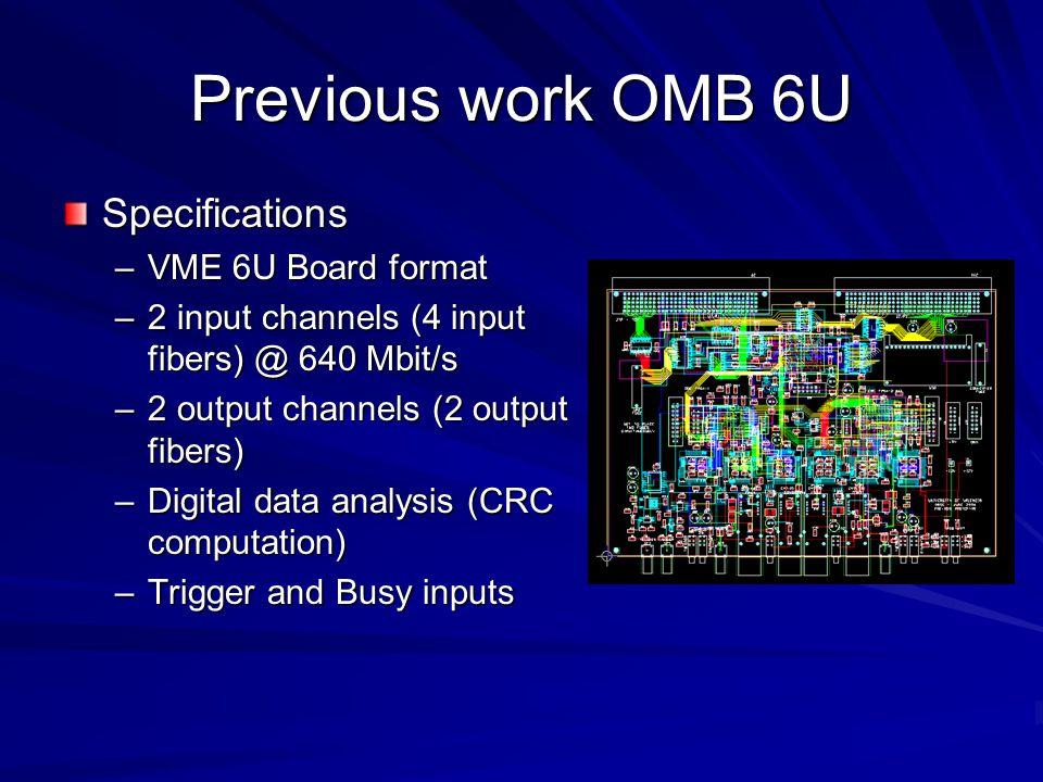Previous work OMB 6U Specifications –VME 6U Board format –2 input channels (4 input fibers) @ 640 Mbit/s –2 output channels (2 output fibers) –Digital