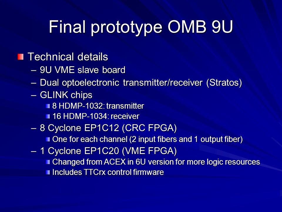 Final prototype OMB 9U Technical details –9U VME slave board –Dual optoelectronic transmitter/receiver (Stratos) –GLINK chips 8 HDMP-1032: transmitter
