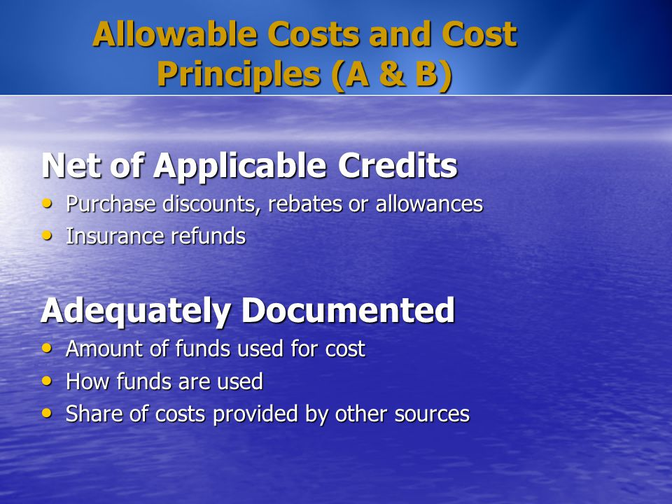 Allowable Costs and Cost Principles (A & B) Net of Applicable Credits Purchase discounts, rebates or allowances Purchase discounts, rebates or allowan
