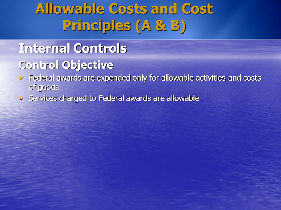 Allowable Costs and Cost Principles (A & B) Internal Controls Control Objective Federal awards are expended only for allowable activities and costs of
