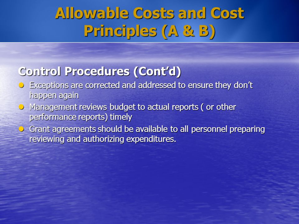 Allowable Costs and Cost Principles (A & B) Control Procedures (Cont'd) Exceptions are corrected and addressed to ensure they don't happen again Excep
