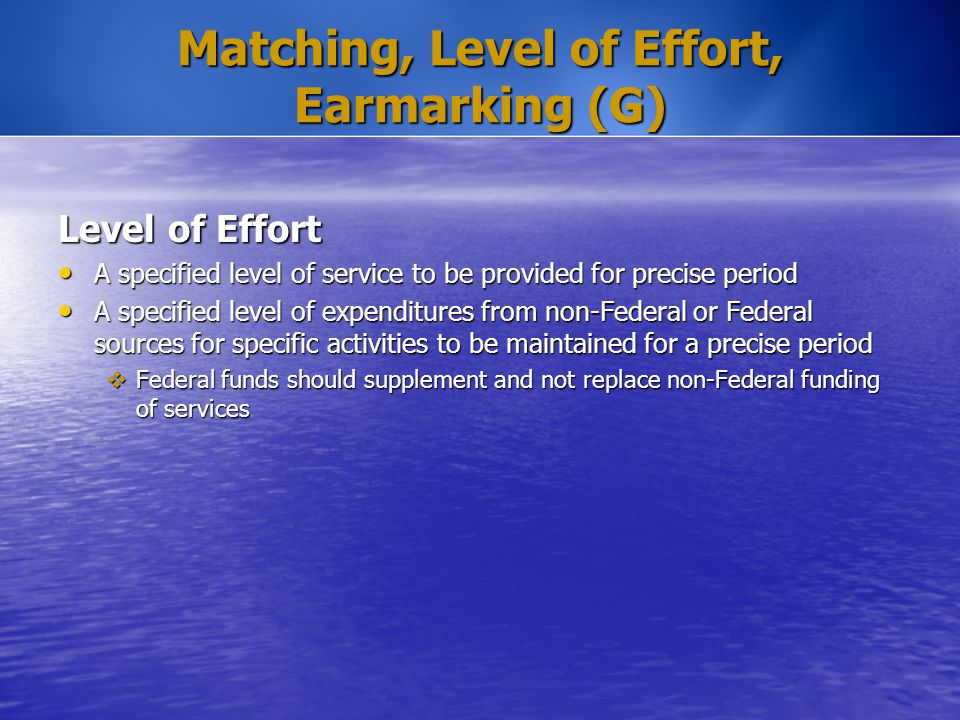 Matching, Level of Effort, Earmarking (G) Level of Effort A specified level of service to be provided for precise period A specified level of service