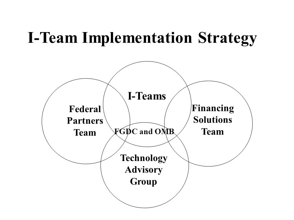 I-Teams Federal Partners Team Financing Solutions Team I-Team Implementation Strategy Technology Advisory Group FGDC and OMB