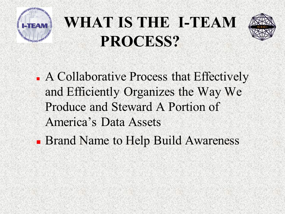 WHAT IS THE I-TEAM PROCESS.
