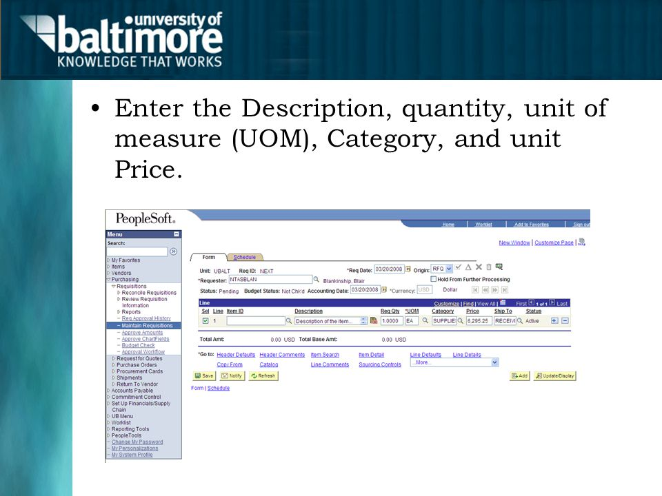Enter the Description, quantity, unit of measure (UOM), Category, and unit Price.