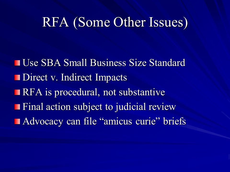 RFA (Some Other Issues) Use SBA Small Business Size Standard Direct v.