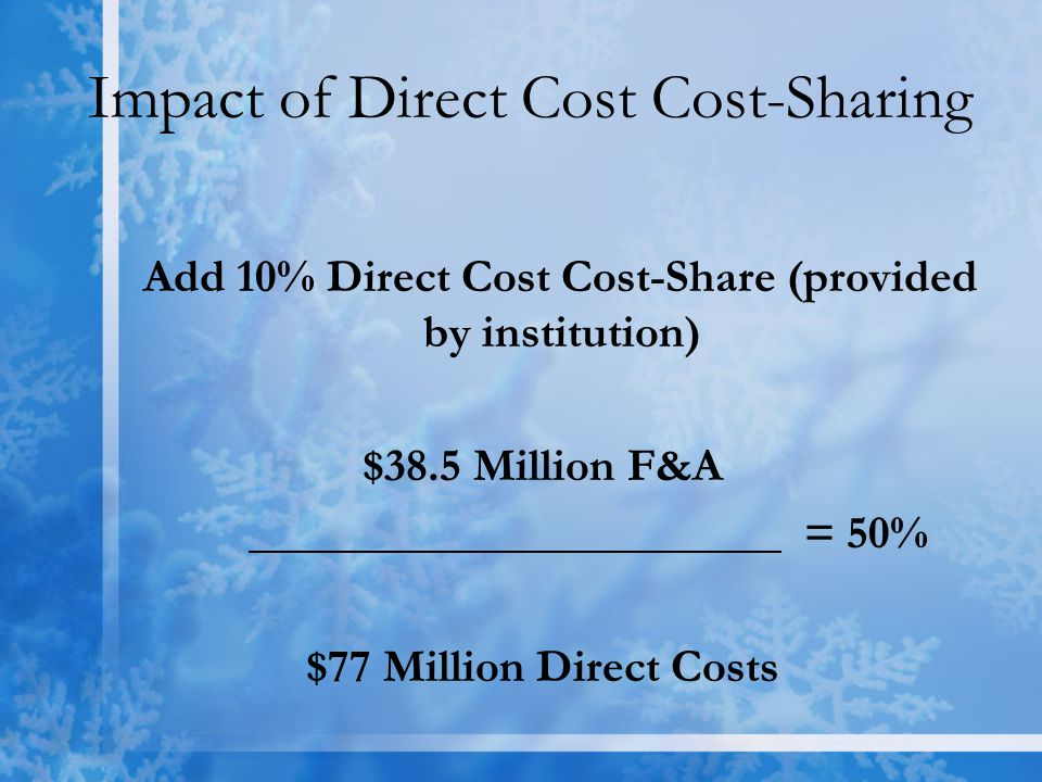Impact of Direct Cost Cost-Sharing Add 10% Direct Cost Cost-Share (provided by institution) $38.5 Million F&A = 50% $77 Million Direct Costs