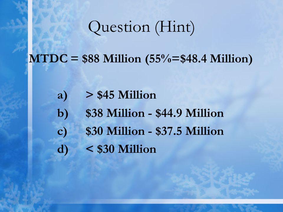 Question (Hint) MTDC = $88 Million (55%=$48.4 Million) a) > $45 Million b)$38 Million - $44.9 Million c)$30 Million - $37.5 Million d) < $30 Million