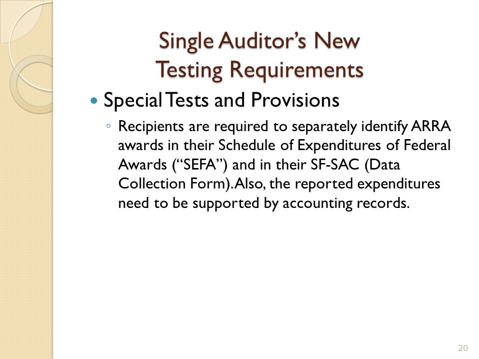 Single Auditor's New Testing Requirements Special Tests and Provisions ◦ Recipients are required to separately identify ARRA awards in their Schedule