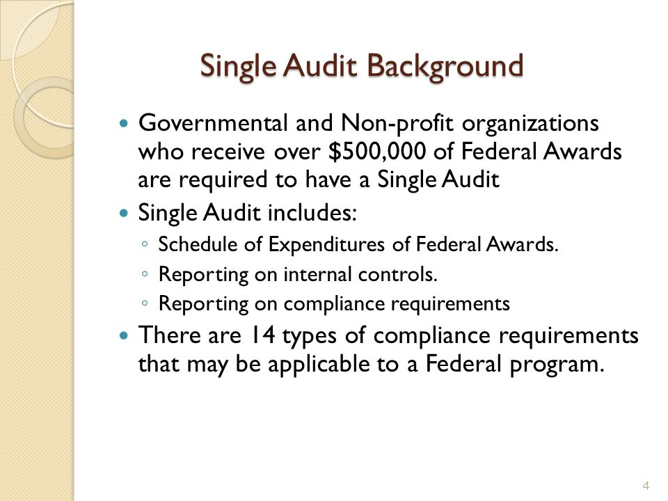 Single Audit Background Governmental and Non-profit organizations who receive over $500,000 of Federal Awards are required to have a Single Audit Sing