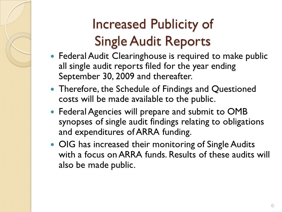 Single Auditor's Testing Requirements Reporting ◦ Auditors must test the data elements of Section 1512 ◦ Award Number ◦ Award Amount ◦ Total Federal Amount of ARRA Funds Received/Invoiced ◦ Total Federal Amount of ARRA Expenditures ◦ # of Jobs – (The auditor is not required to test the number of jobs as part of compliance work performed on Section 1512 ARRA Reporting 17