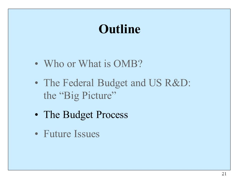 """21 Outline Who or What is OMB? The Federal Budget and US R&D: the """"Big Picture"""" The Budget Process Future Issues"""