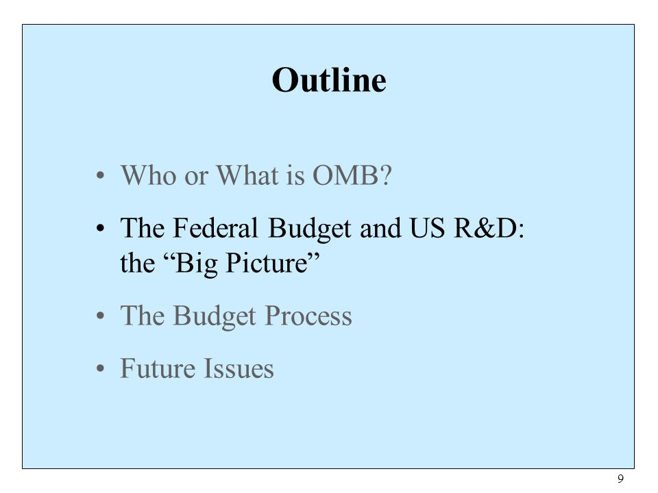 40 Further Information OMB website www.whitehouse.gov/omb President's budget w3.access.gpo.gov/usbudget AAAS Science & Policy Programs www.aaas.org/spp/ DOE's Office of Science www.er.doe.gov NSF Science Resources Studies www.nsf.gov/sbe/srs/fedfunds/start.htm Shelley Lyne Tomkin, Inside OMB, ME Sharpe (1998).