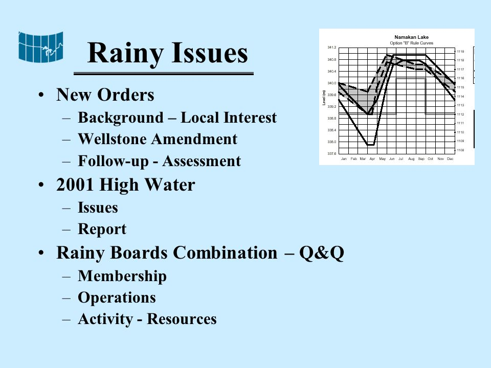 Rainy Issues New Orders –Background – Local Interest –Wellstone Amendment –Follow-up - Assessment 2001 High Water –Issues –Report Rainy Boards Combination – Q&Q –Membership –Operations –Activity - Resources