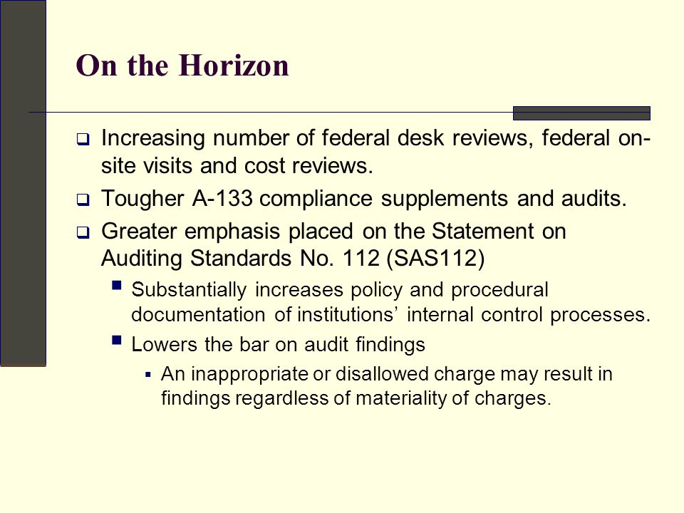 On the Horizon  Increasing number of federal desk reviews, federal on- site visits and cost reviews.