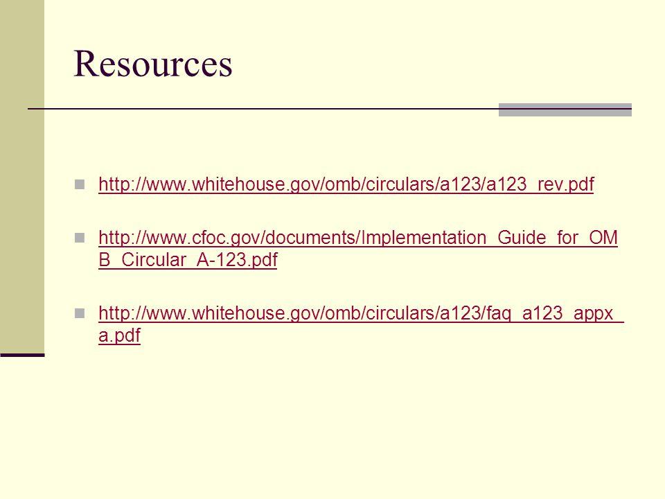 Resources http://www.whitehouse.gov/omb/circulars/a123/a123_rev.pdf http://www.cfoc.gov/documents/Implementation_Guide_for_OM B_Circular_A-123.pdf http://www.cfoc.gov/documents/Implementation_Guide_for_OM B_Circular_A-123.pdf http://www.whitehouse.gov/omb/circulars/a123/faq_a123_appx_ a.pdf http://www.whitehouse.gov/omb/circulars/a123/faq_a123_appx_ a.pdf
