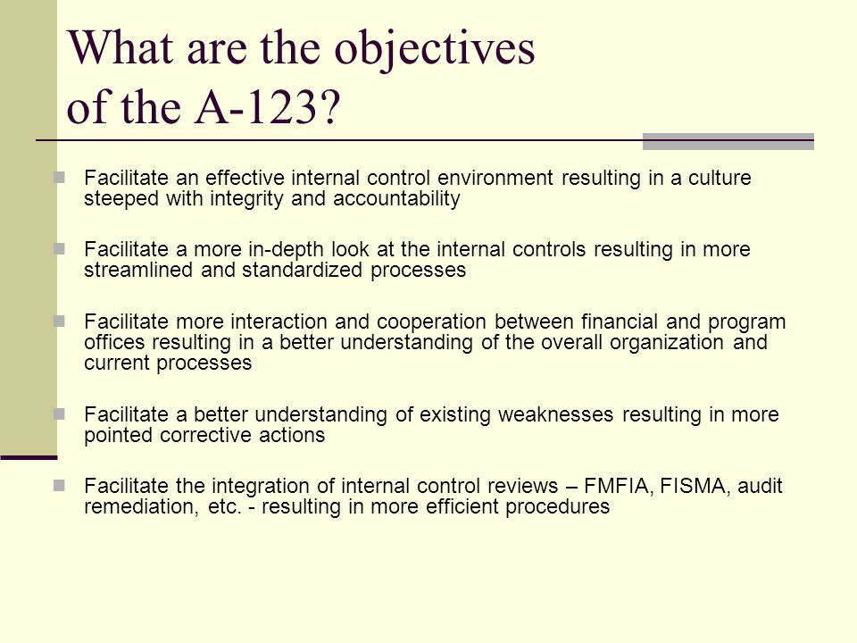 What are the objectives of the A-123.