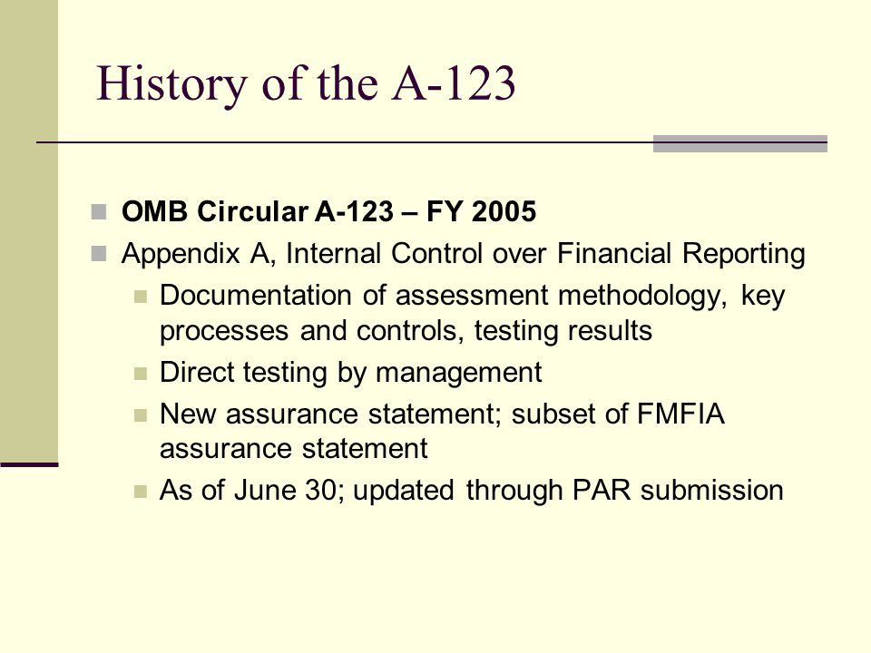 History of the A-123 OMB Circular A-123 – FY 2005 Appendix A, Internal Control over Financial Reporting Documentation of assessment methodology, key processes and controls, testing results Direct testing by management New assurance statement; subset of FMFIA assurance statement As of June 30; updated through PAR submission