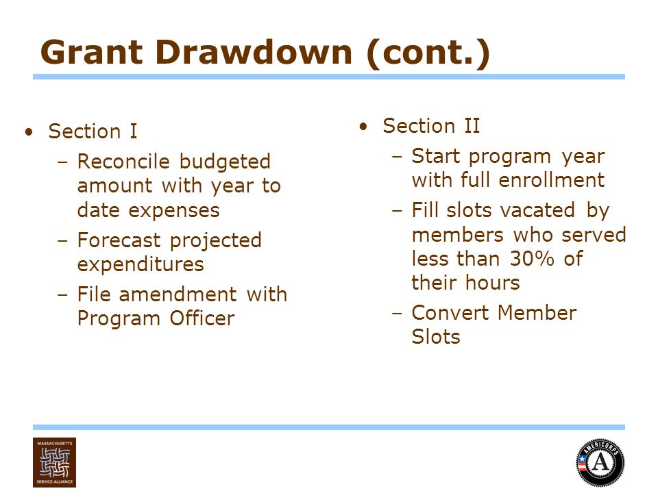 Grant Drawdown (cont.) Section I –Reconcile budgeted amount with year to date expenses –Forecast projected expenditures –File amendment with Program Officer Section II –Start program year with full enrollment –Fill slots vacated by members who served less than 30% of their hours –Convert Member Slots