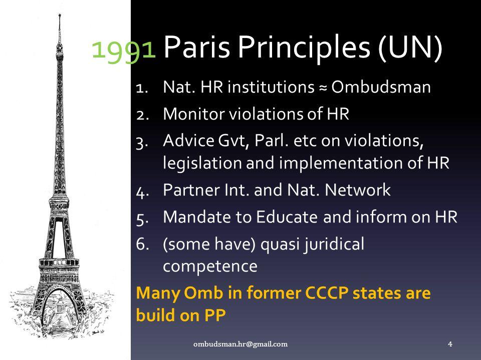 1991 Paris Principles (UN) 1.Nat. HR institutions ≈ Ombudsman 2.Monitor violations of HR 3.Advice Gvt, Parl. etc on violations, legislation and implem