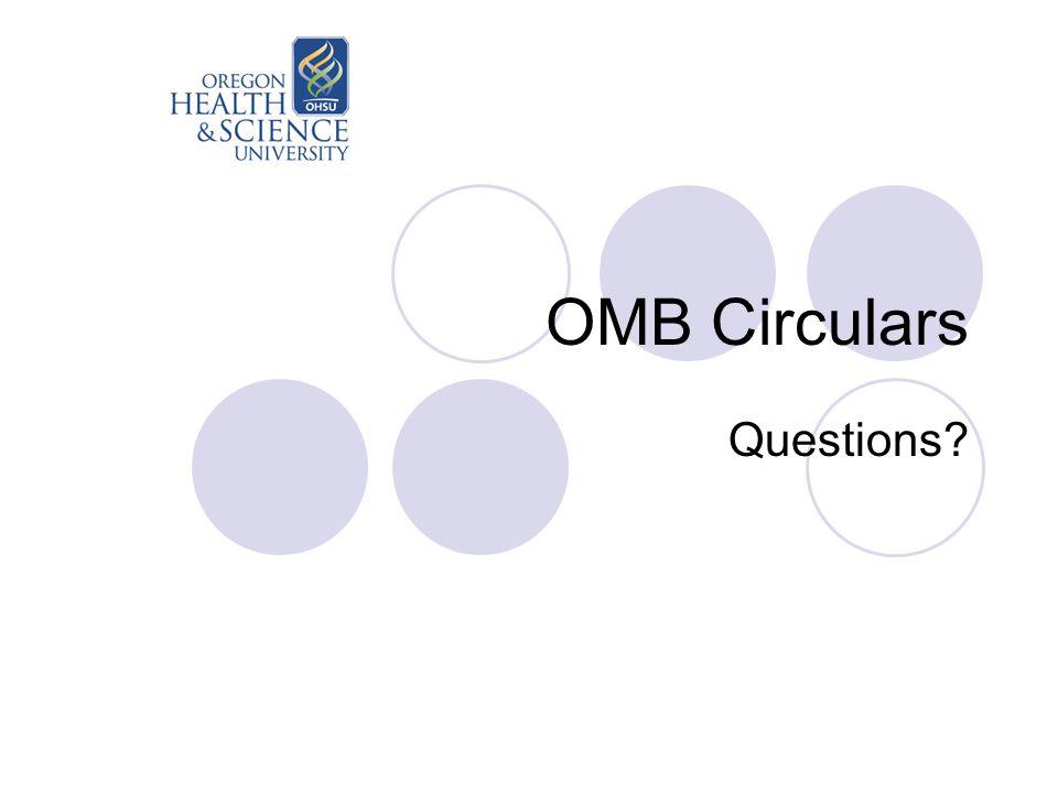 OMB Circulars Questions