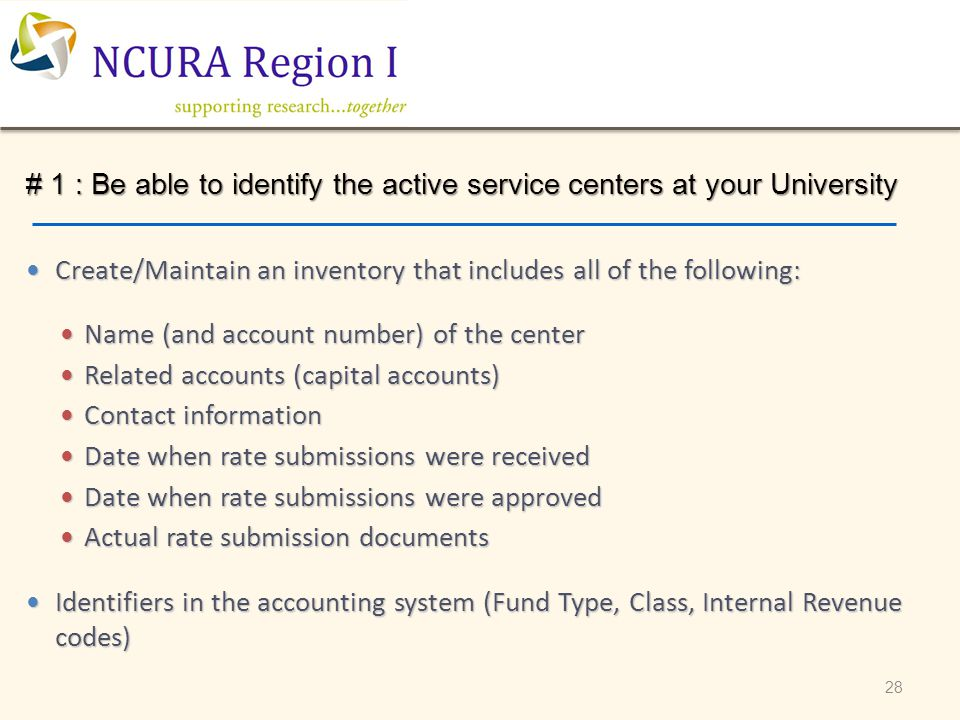 28 # 1 : Be able to identify the active service centers at your University Create/Maintain an inventory that includes all of the following: Create/Mai
