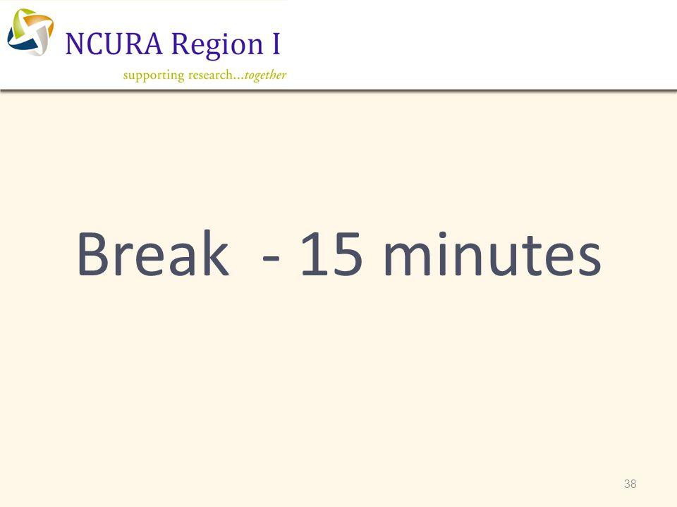 Break - 15 minutes 38