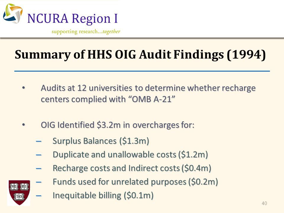 "Summary of HHS OIG Audit Findings (1994) Audits at 12 universities to determine whether recharge centers complied with ""OMB A-21"" Audits at 12 univers"